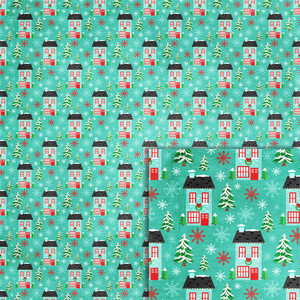 christmas houses background paper