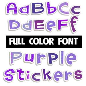 purple stickers color font