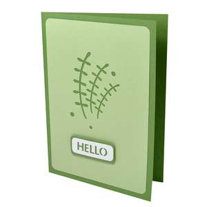 small leaves vine hello stencil card