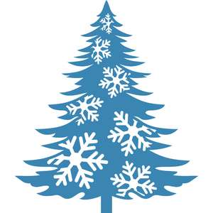 pine tree with snowflakes