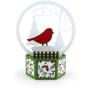 3d snow globe card bird