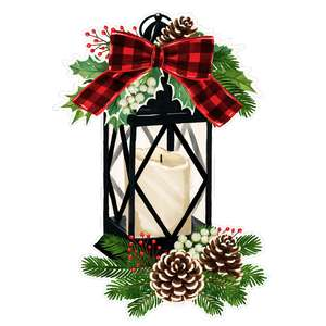 christmas lantern with holly and pinecones painting