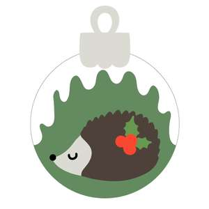 christmas ornament with hedgehog