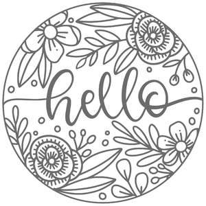 hello floral round frame sign