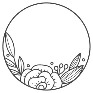 single flower round monogram frame