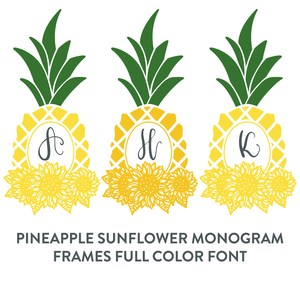 pineapple sunflowers monogram frame full color font