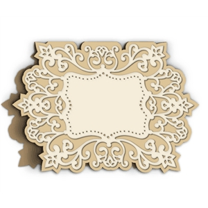 card with filigree frame