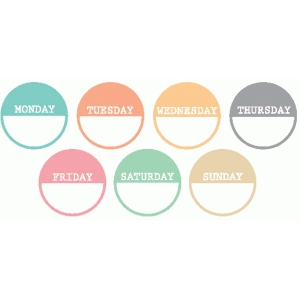 days of the week circle tags / labels