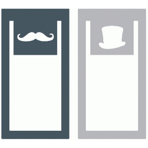 set of 2 moustache and top hat paperclips