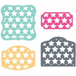 set of 4 star labels