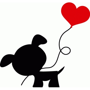dog with heart balloon silhouette