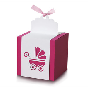 cube box with baby carriage