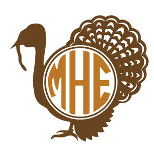 fancy turkey monogram frame