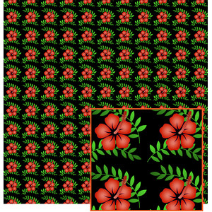 red hibiscus pattern
