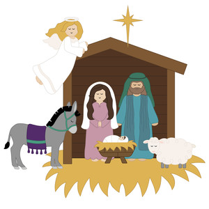 nativity scene with angel and animals