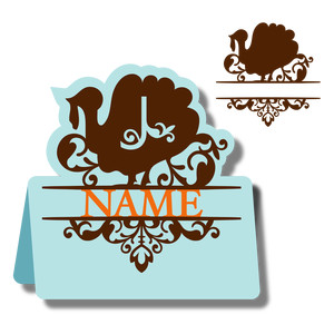 monogram place card & nameplate - turkey j