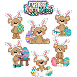 a beary happy easter bear sticker