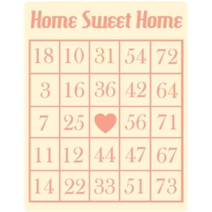 home sweet home bingo card