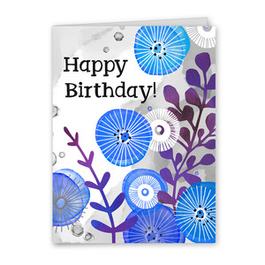 happy birthday watercolor floral card