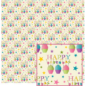 happy birthday cupcakes pattern