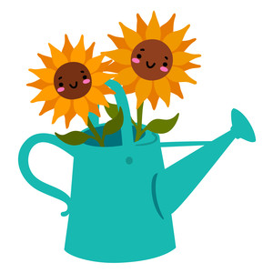 kawaii sunflowers in a watering can