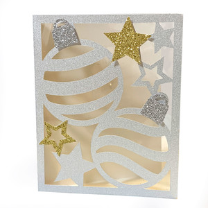 christmas ornaments and stars card