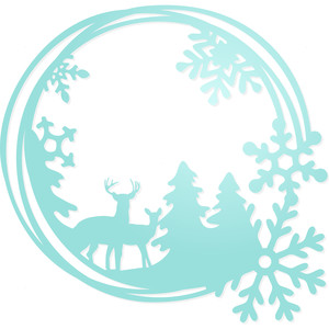 deer winter snowflake