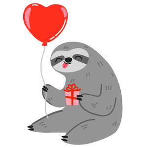 sloth with heart balloon