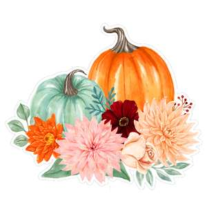 watercolor pumpkins flower bouquet green and orange