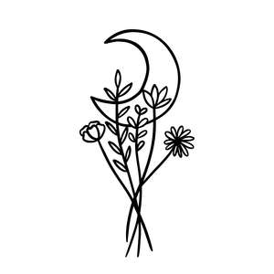 floral flower with moon