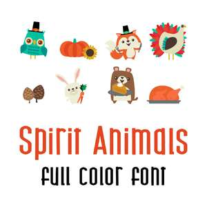 spirit animals full color font