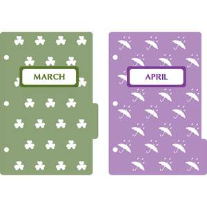 mini 3-ring binder decorative march & april dividers