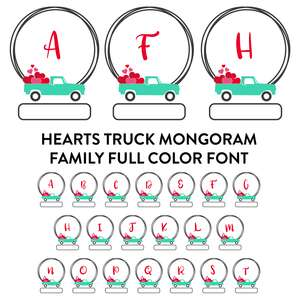 truck hearts frame monogram family full color font