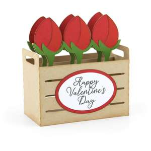box card crate valentine roses