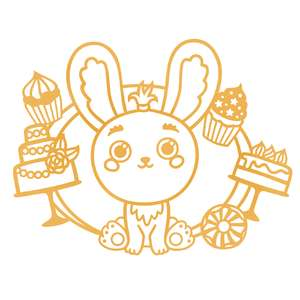 cute bunny and cakes