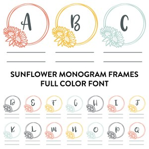 sunflower frame monogram family full color font