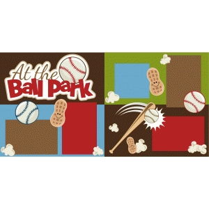 at the ball park scrapbook 2 page kit