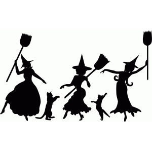 dancing witch silhouettes