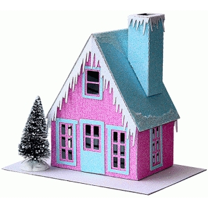 putz-style glitter house: peaked roof