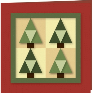 christmas trees quilter 5x5 card