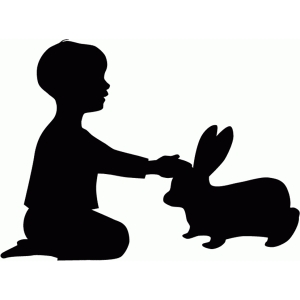 boy with rabbit silhouette