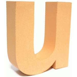 3d lowercase letter block u
