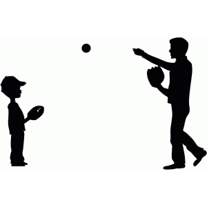 father & son playing catch