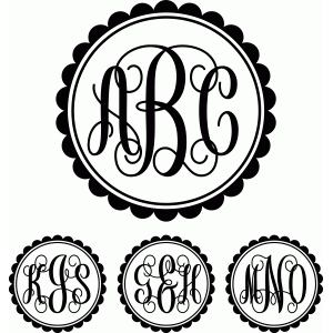 monogram script scalloped circle