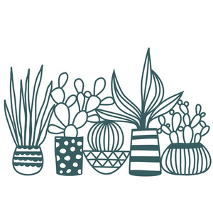 houseplants large papercut border