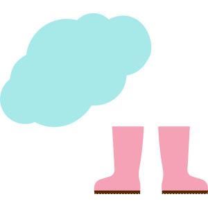 rain boots and clouds