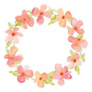 pink watercolor flower wreath
