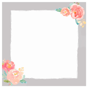 square watercolor flower frame