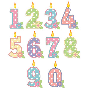 pastel polka dot candle numbers