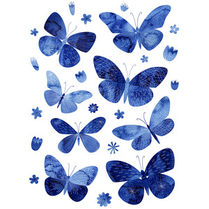 blue watercolor butterflies stickers